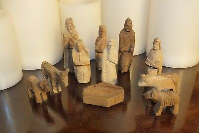 Vintage Nativity Set Hand Carved  Wood 11 Pc Wooden Figures Mid Century Modern - Wooden Nativity Set