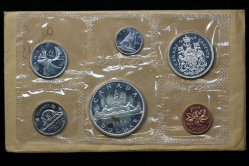 1963 Canada Prooflike Set 6 Canadian Coins in Original Envelope