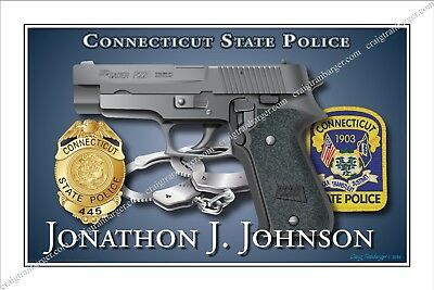 Police,Connecticut,State,Department,Sheriff,Retirement,Promotion,badge,gift