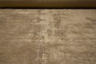 "Beige Tan Flocked Velvet Sueded Upholstery Fabric 56"" Wide Plush Soft BTY"