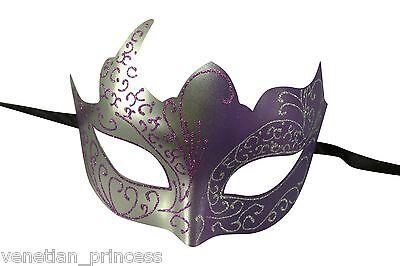 Silver Purple Venetian Mask Masquerade Laser Cut Mardi Gras Unisex PM002SLPU NEW](Purple Mardi Gras Mask)
