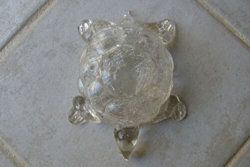 """Weatherman Clear Glass Patterned Turtle Dish 7"""" long 4 1/4"""" to 5 1/2"""" wide GREAT"""