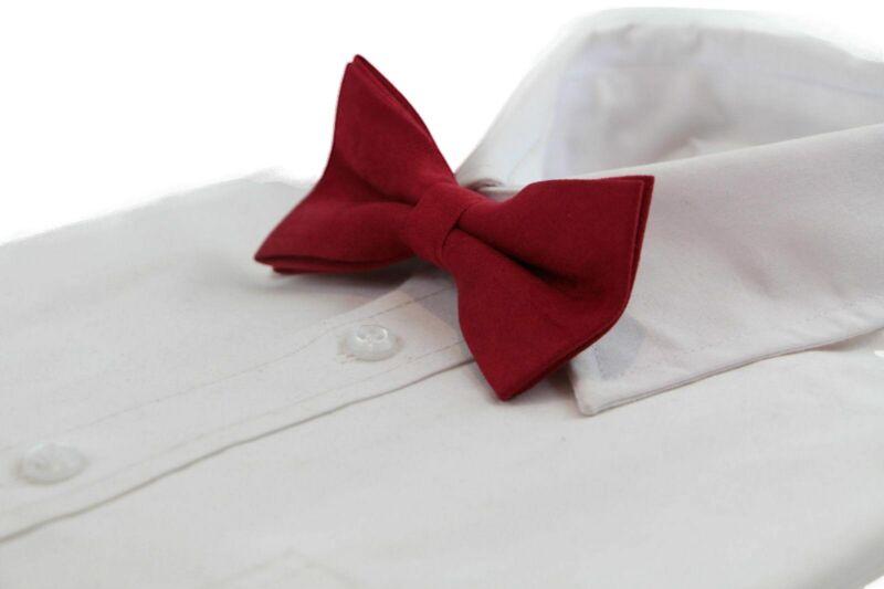 Mens Velvet Red Bow Tie Pretied Adjustable Stylish Wedding Formal Races Suede