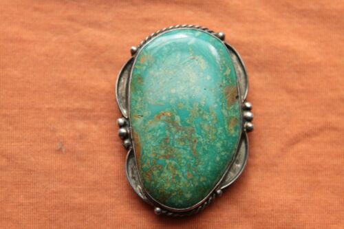 Vtg Hand Made Sterling Silver Native American Turquoise Concho or Bolo Slide