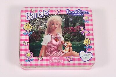 New Sealed Vintage 1990's Barbie & Dog Russell Stover Candies Tin w/ Surprise