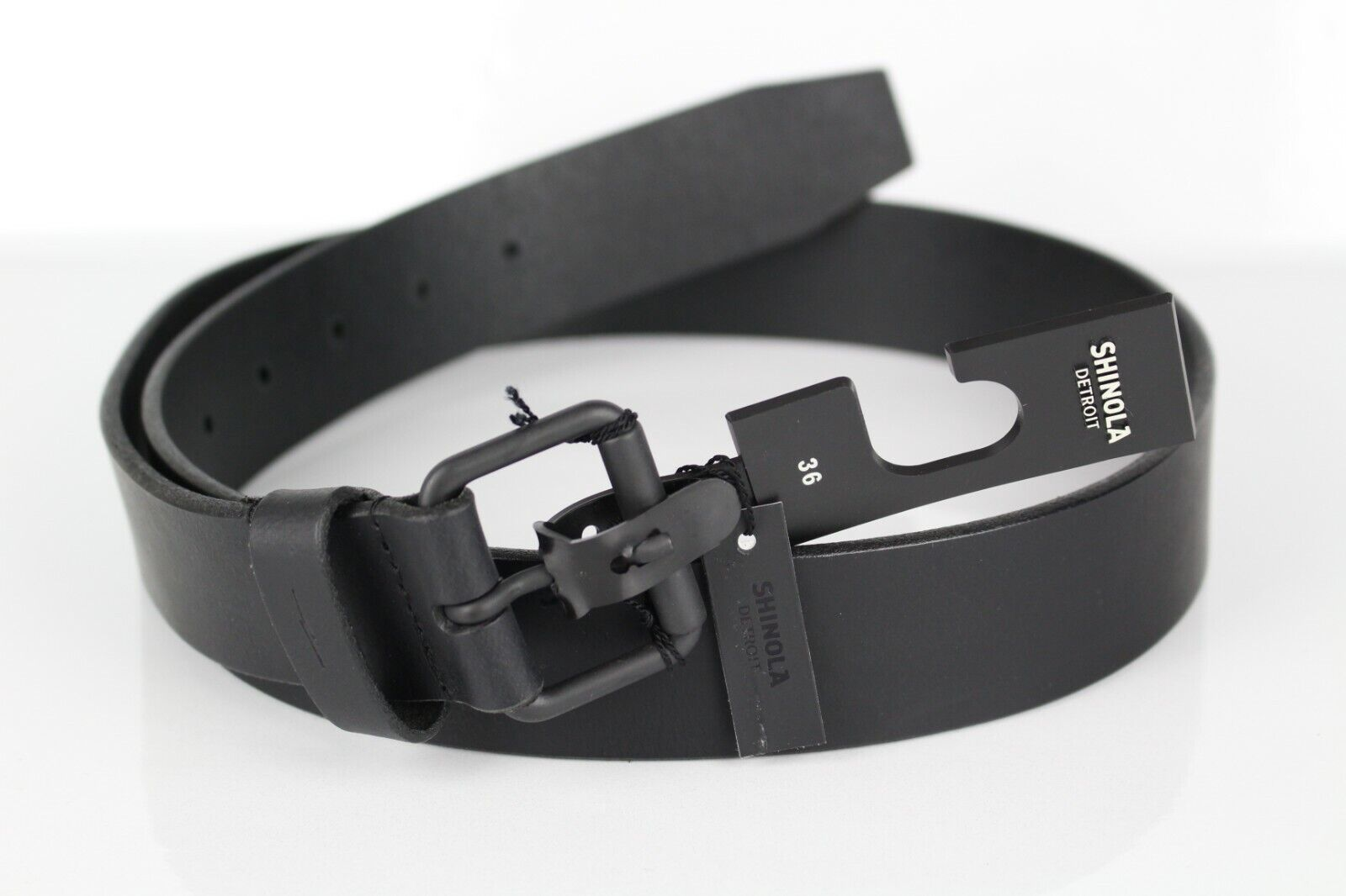 "USA SHINOLA Detroit 1.5/"" Light Brown Outrigger Leather Roller Belt Sz 36 NEW!"