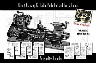 Atlasclausing 12 Lathe 4800 Series Parts List And User Manual Schematics Etc.