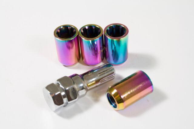 NEO CHROME STEEL Tuner Locking 12x1.5 wheel nuts M12x1.5 Set of four with key