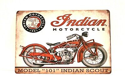 New Indian Motorcycles Tin Metal Sign Vintage Style Advertisement 101 Scout