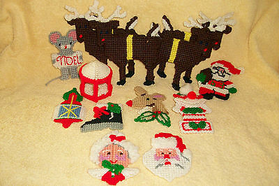 Lot of 13 Handmade Xmas Ornaments - Assorted Holiday Craft Christmas Decorations