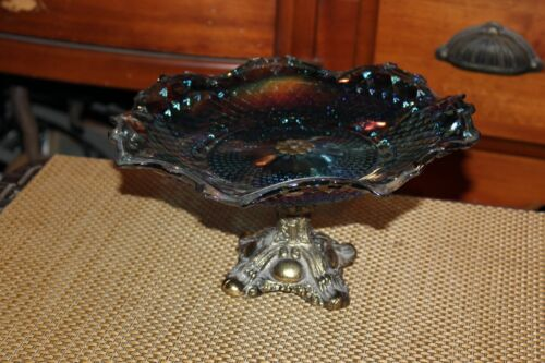 Vintage Carnival Glass Footed Cake Dish Candy Dish