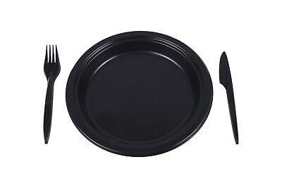 Party Set 100x (Gabeln+Messer+Teller) Plastikteller Einweggeschirr Schwarz