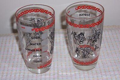 2 Vintage Bar Glasses - Barware - Write you Name - Mark your Drink Mix - (Bar Glasses Names)
