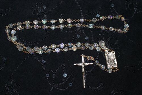 Beautiful Aurora Borealis Bead Crystal Rosary Made in Italy w/Relic