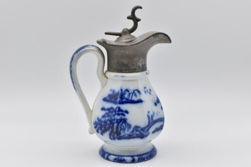 Flow Blue Early Victorian Ironstone Lidded Syrup Jug, HONG KONG By Charles Meigh