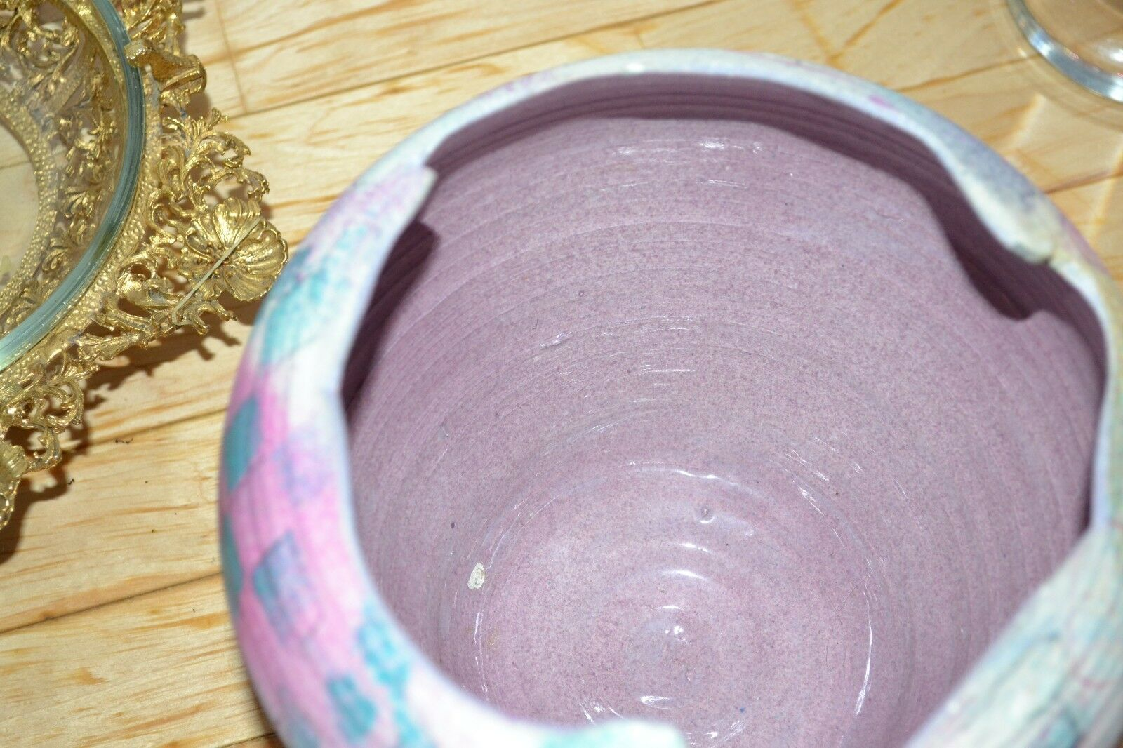 Купить Abstract Vintage Zufelt Signed Pink Teal Hand Thrown Painted Art Studio Pottery