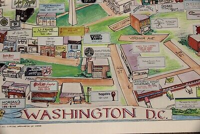 Vintage Washington DC Illustrated Map Advertising Local Businesses (1986)