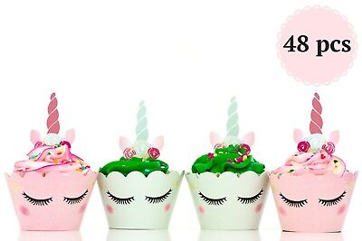 Unicorn Cupcake Wrappers Toppers Birthday Decoration Party Baby Shower 48 Pcs ](Baby Shower Cupcake Papers)