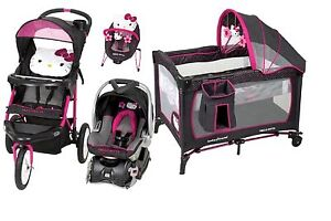 new nursery hello kitty jogger stroller baby car seat play yard bouncer ebay. Black Bedroom Furniture Sets. Home Design Ideas