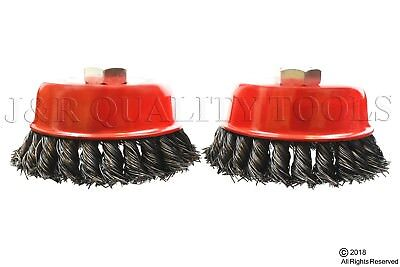2 Pack 4 Cup Brush Knotted Twisted Wire Wheel 58 Arbor Grinder