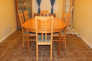 Dining Room Table + 6 Chair Set with Buffet & Crockery Cabinet