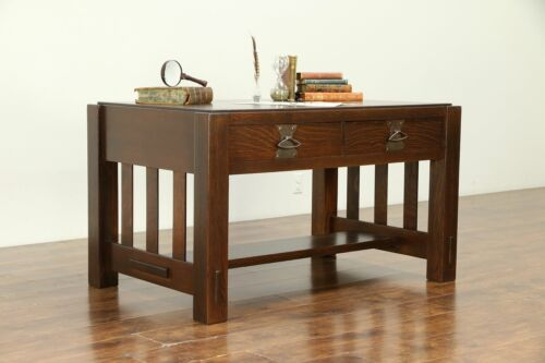 Arts & Crafts Mission Oak Antique Library Table or Craftsman Desk #30556