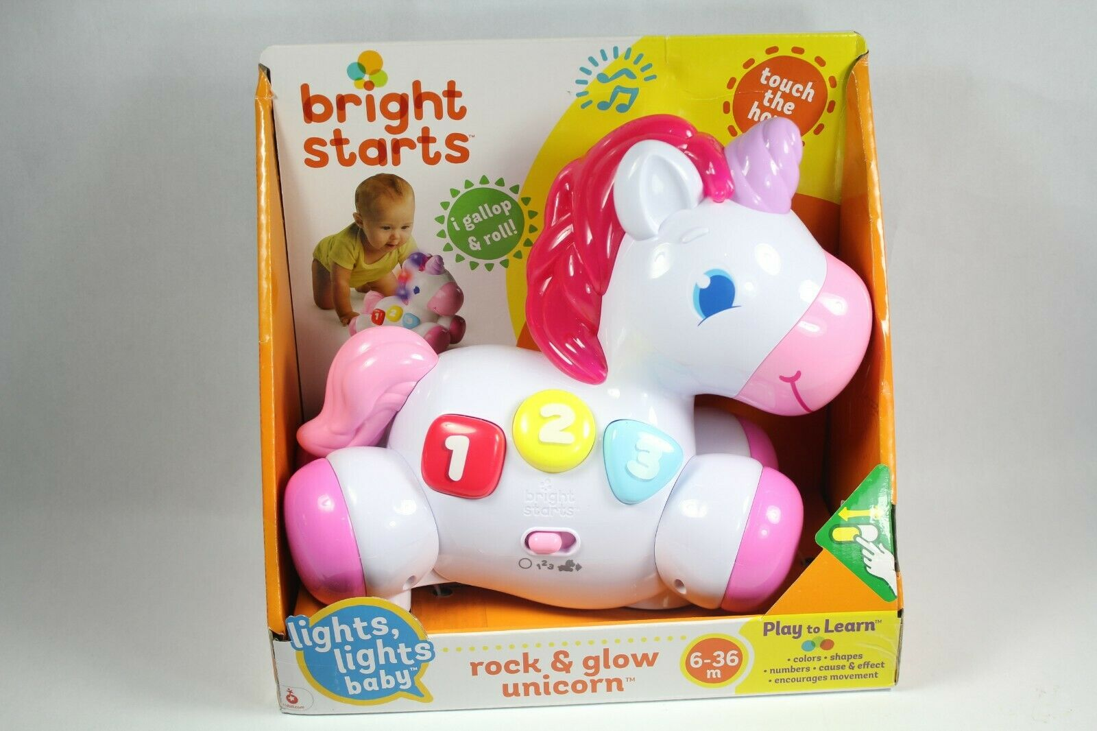Bright Starts Rock and Glow Unicorn Toy