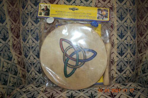 "Irish 8"" Bodhran Drum w/Handpainted Celtic Design Beater/Book New in Bag"