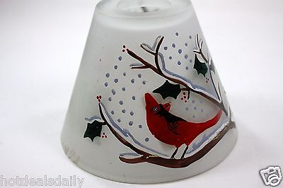 CANDLE MAGIC CARDINAL FROSTED GLASS CANDLE TOPPER FITS ON YANKEE CANDLES JARS