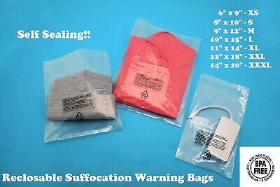Self Seal Poly Bags Suffocation Warning Clear Lip Tape 1.5 Mil Shirt Apparel