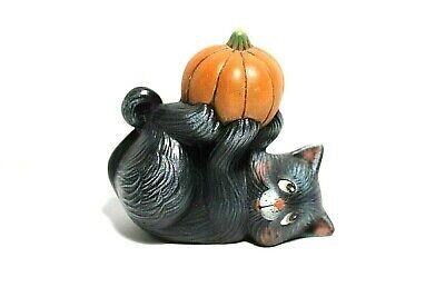 Vintage Black Cat Kitten w Pumpkin Ceramic Hand Painted Figurine Fall Halloween