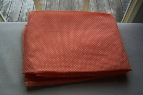Vintage Dotted Swiss fabric For Dolls Crafts Sewing Orange w/ raised White Dots