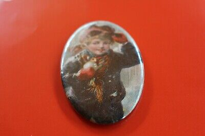 Vintage 'Young Girl in Winter' Oval Pocket Mirror