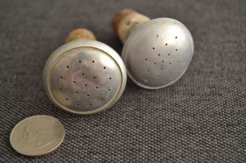 2 Vintage ALUMINUM & CORK Laundry IRONING Water SPRINKLER BOTTLE Caps Heads