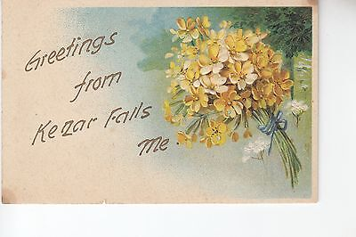Embossed Flowers Gold Gilt Greetings From Kezar Falls  Me