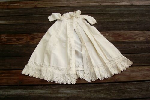 Baby Vtg Antique Beautiful Early Jacket or Cape Eyelet White Work Lace Trim