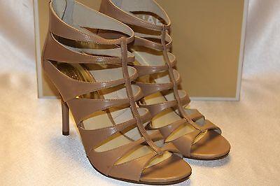 NEW! MICHAEL KORS Dk Khaki Leather MAVIS Neutral Caged Strappy Sandals 10 $195
