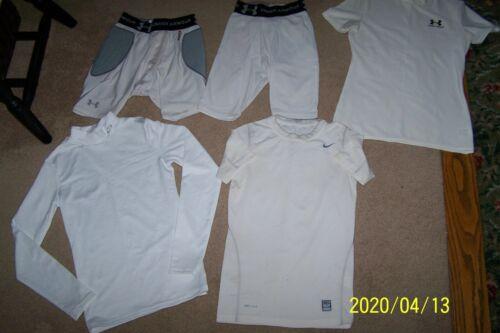 Youth Size Medium-Large Compression Shirts (3) and Shorts (2) Sports base layers