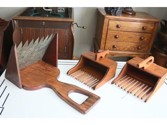 Set of 3 Antique Wooden Cranberry Scoop Rake Wall Display Organizer