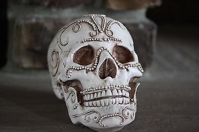 SKULL W/ A JEWELED DESIGN VERY UNIQUE & DETAILED GREAT FOR HALLOWEEN OR PARTIES - Design For Halloween