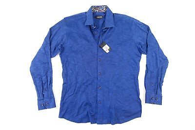 JARED LANG BLUE LARGE SOFT WOVEN BUTTON FRONT SHIRT MENS NWT NEW
