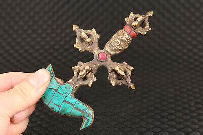 chinese bronze hand casting tibet copper musical instruments used in a Buddhist