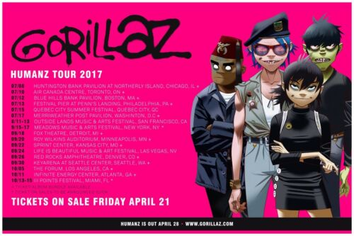 """GORILLAZ """"HUMANZ TOUR 2017"""" U.S.A. CONCERT POSTER - Damon Albarn, Alt Rock Music"""