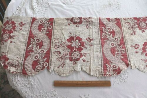 Lovely Antique Genuine 18thC HandBlocked Floral Stripe Linen Toile Valance~78X16