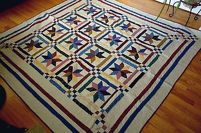"""NEW Handmade Colorful Stars Pattern Quilt   101"""" x 89"""""""