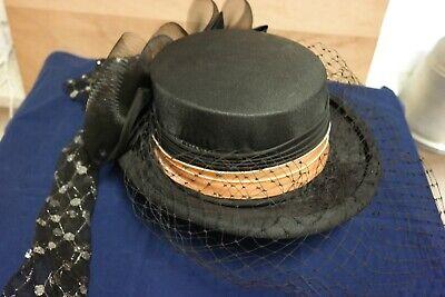 Eleganter älterer Damenhut mit Schleier (handmade in U.K.) ()