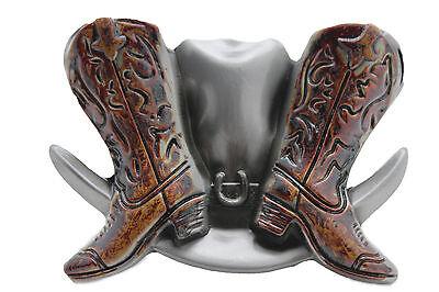 Western Cowboy Hut und Stiefel Gürtelschnalle Texas Cowboy Geschenk Cowgirl (Cowboy-hut Und Stiefel)