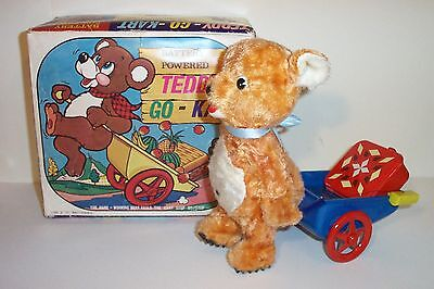 MINT 1960's BATTERY OPERATED TEDDY-GO-KART TIN LITHO BEAR TOY ALPS MIB *nice*