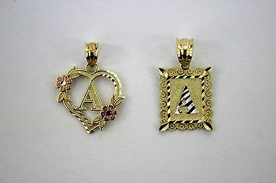 Authentic 10K Gold Initial Pendant Charm Diamond Cut for Girls Boys Men Women Diamond Cut Boy Pendant