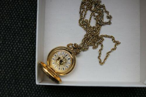 Vintage Colibri France Gold Tone Quartz Windup Pendant Watch Necklace 30' Chain
